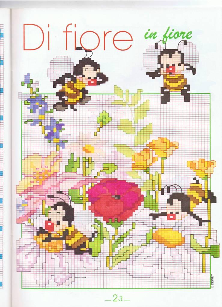 Animali api su fiori punto croce for Animali a punto croce per bambini