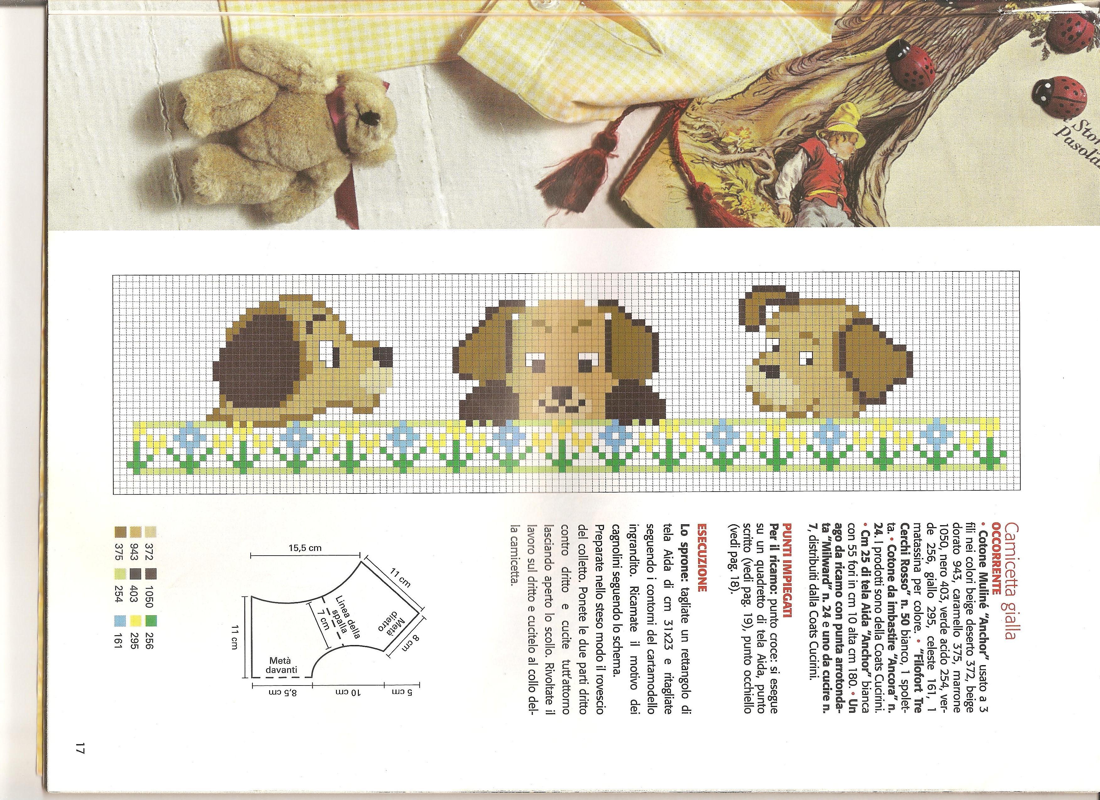 Animali bambini cagnolini punto croce for Schemi punto croce animali gratis
