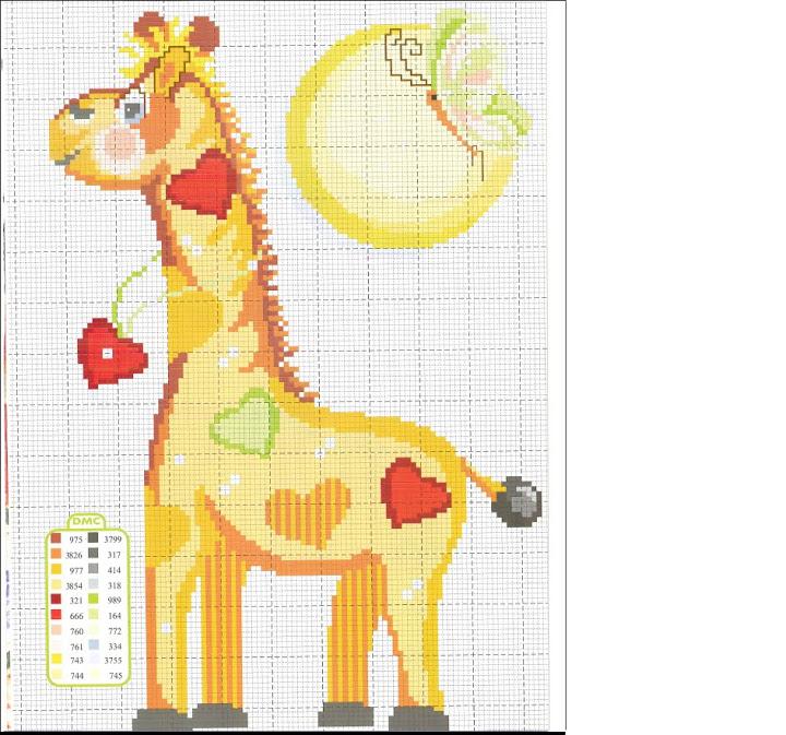 Animali bambini giraffa cuoricini punto for Animali a punto croce per bambini