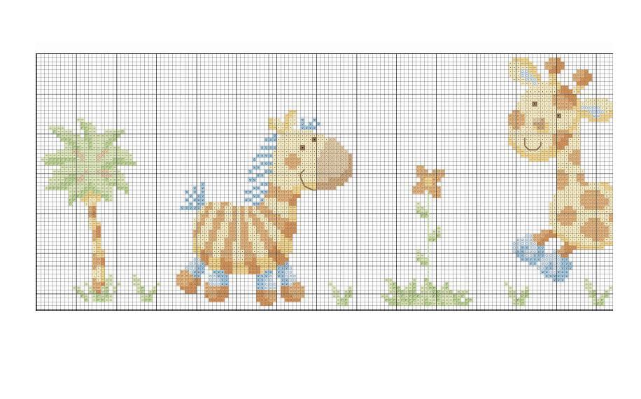 Animali bambini giraffe simpatiche1 punto for Animali a punto croce per bambini