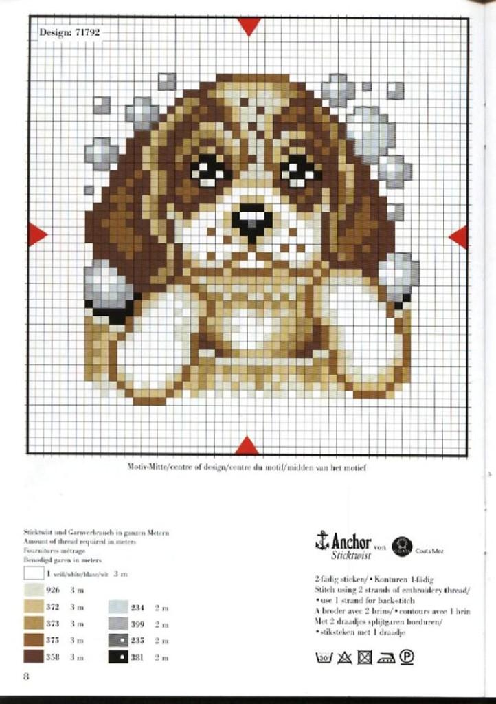 Animali cane bagnetto punto croce for Schemi punto croce animali gratis