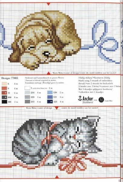 Animali cane gatto nanna punto croce for Schemi punto croce animali gratis