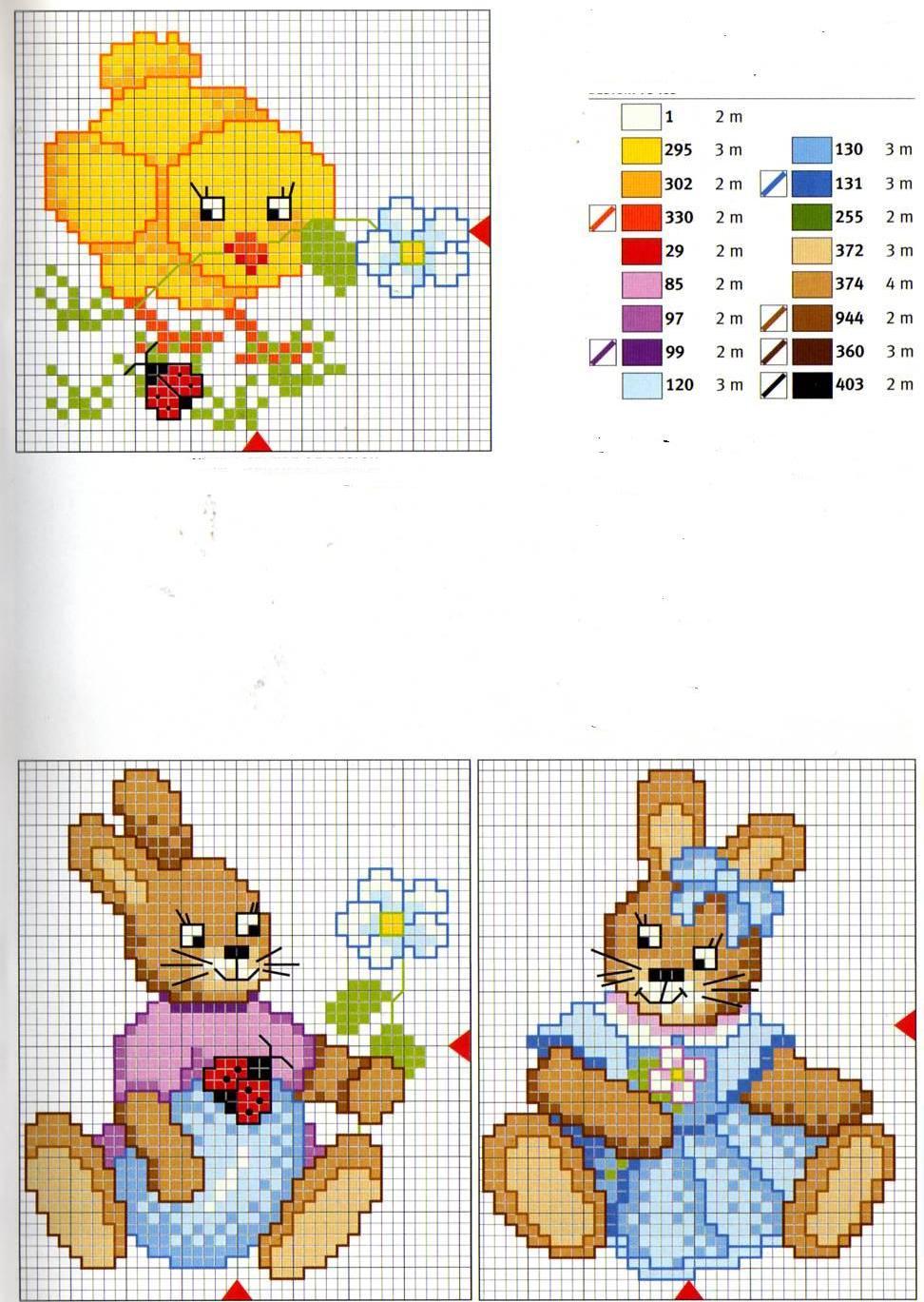 Animali coniglietti2 punto croce for Animali a punto croce per bambini