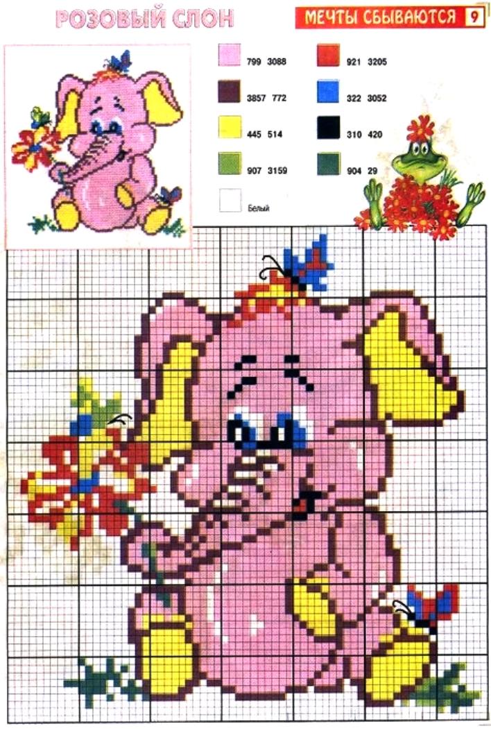 Animali elefante rosa punto croce for Animali a punto croce per bambini