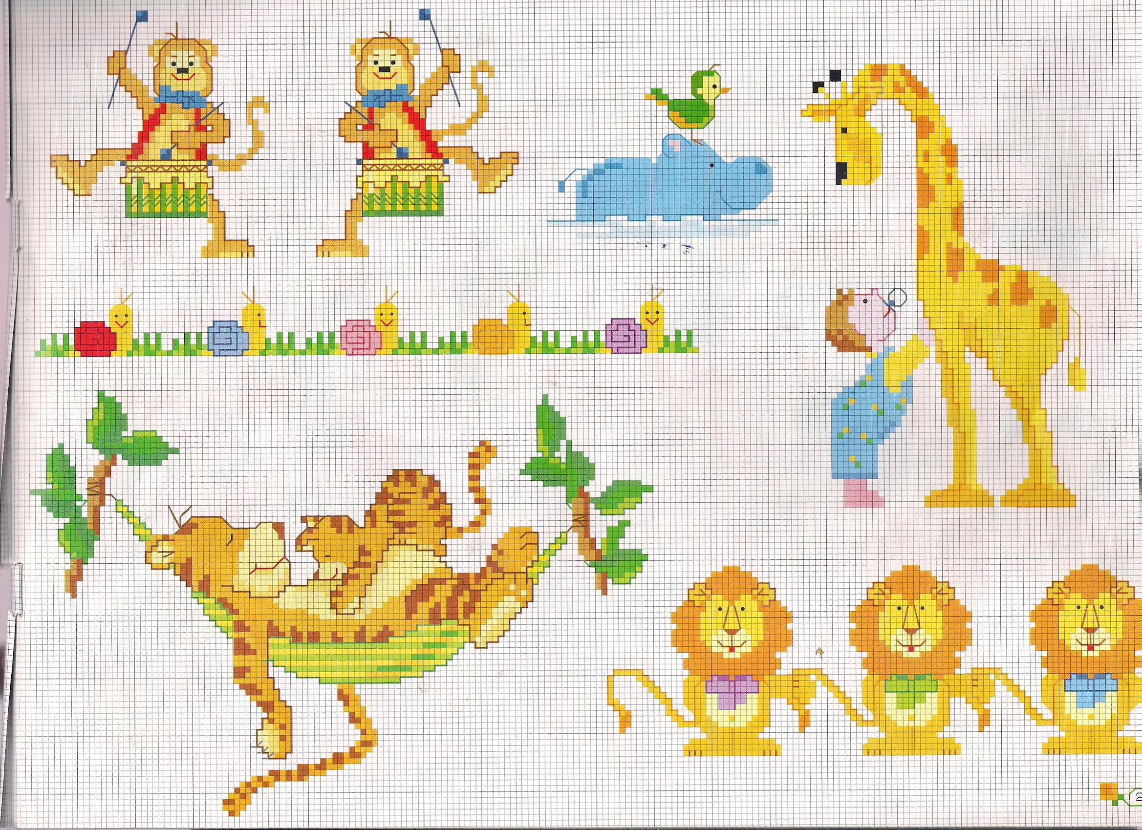 Animali giraffa tigre con cucciolo su amaca magiedifilo for Schemi punto croce per bavaglini