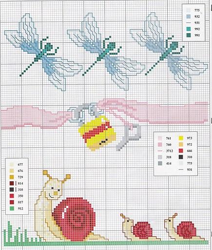 Animali mamma lumaca con piccoli punto for Schemi punto croce animali gratis