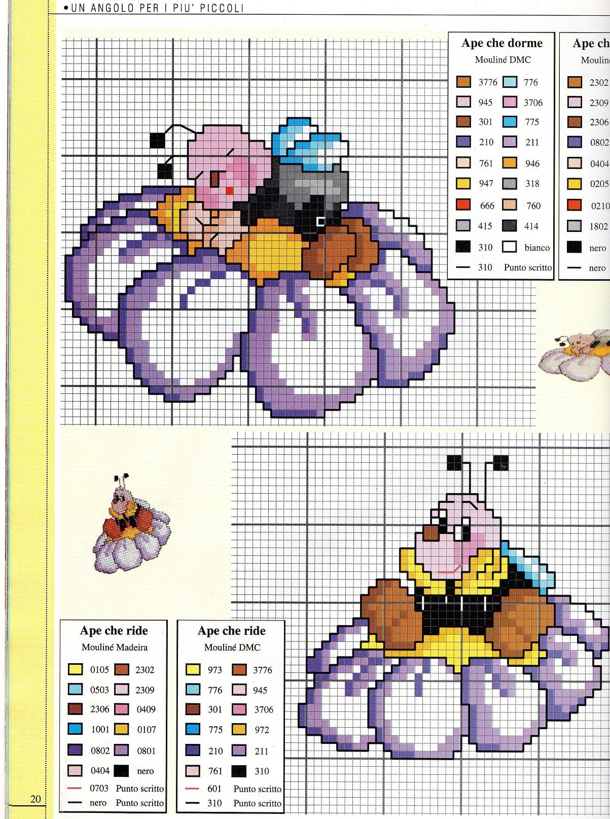 Ape fiore 1 punto croce uncinetto for Immagini api per bambini