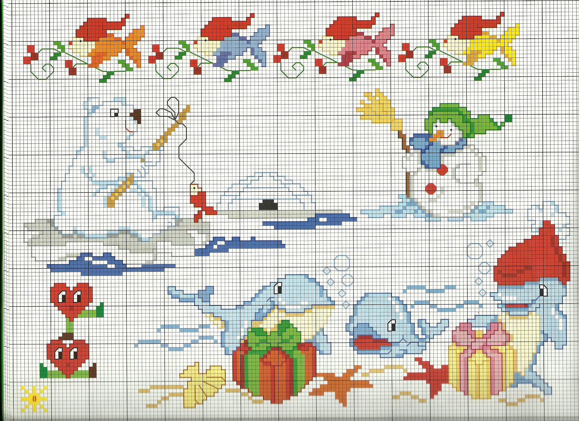Schemi Elettrici Per Bambini : Bambini animali orso pesca magiedifilo punto croce