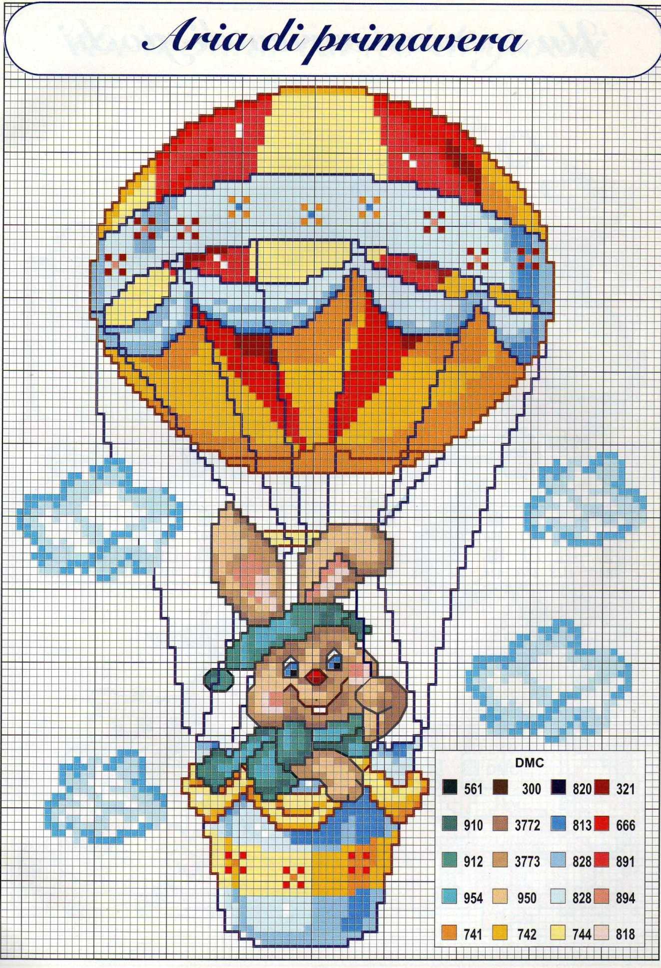 Bambini coniglietto su mongolfiera punto for Punto croce schemi bambini