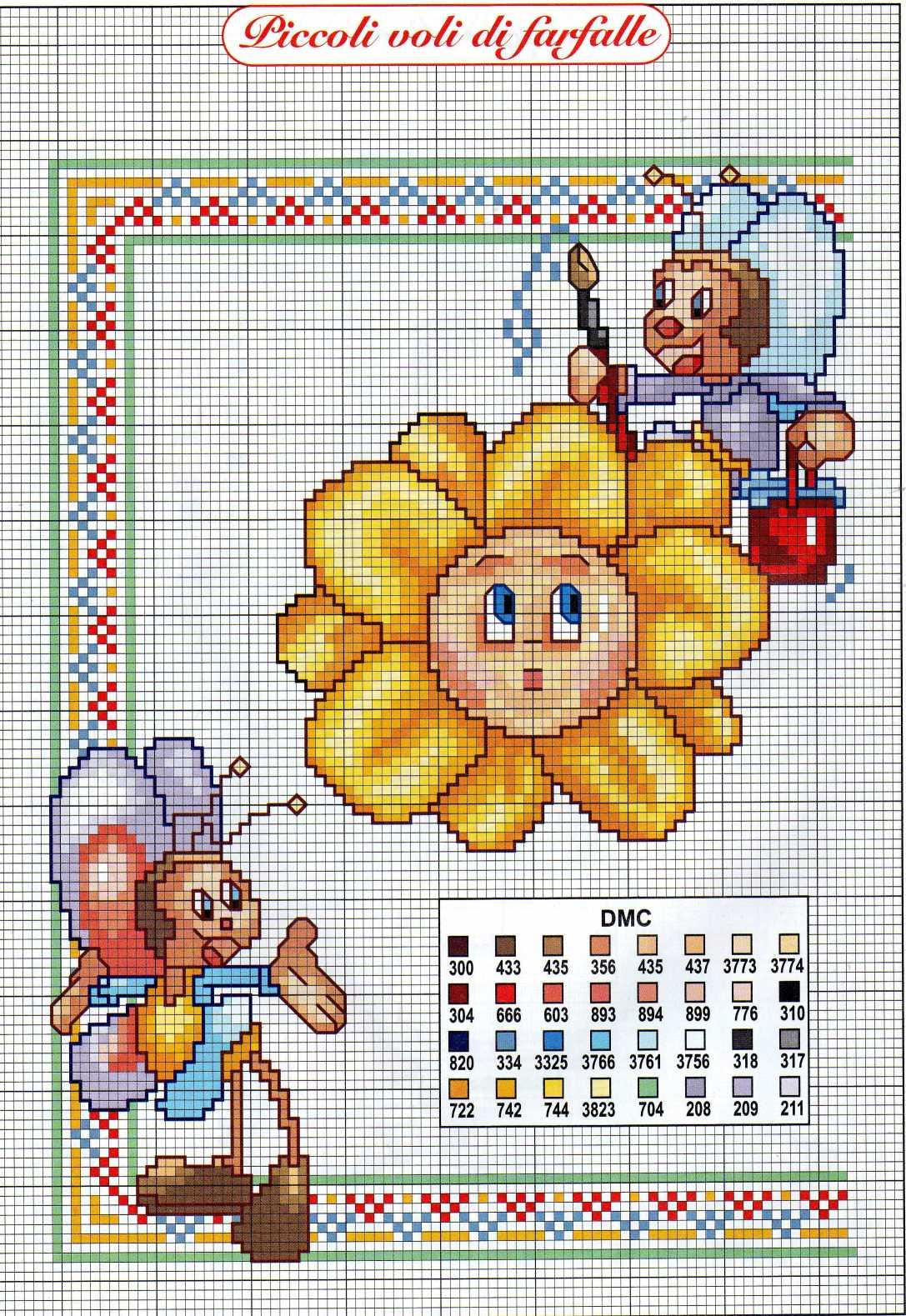 Bambini fargalle simpatiche fiore 1 for Iniziali punto croce bambini