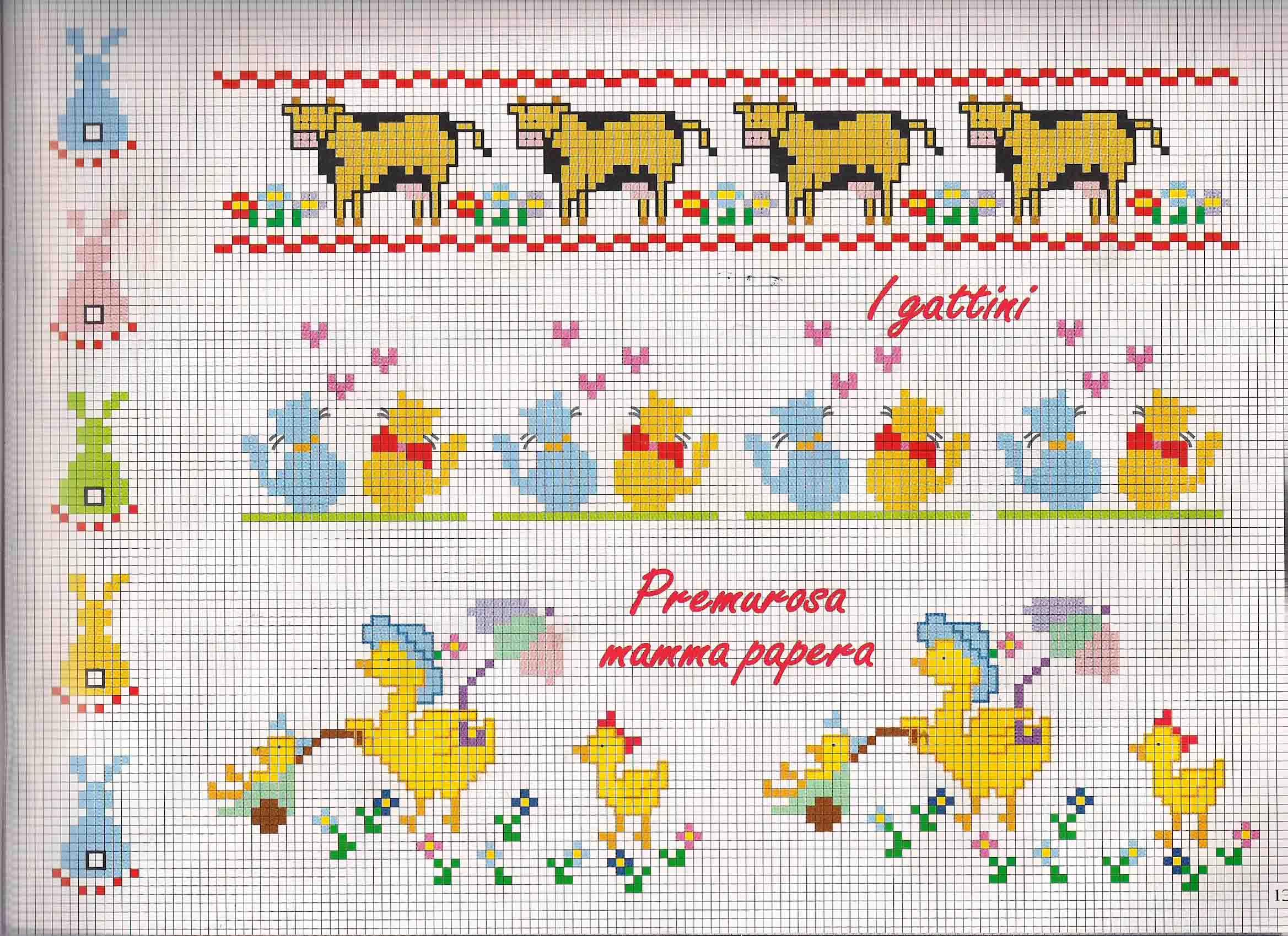 Bordi bimbi con mucche e papere punto for Punto croce bimbi schemi
