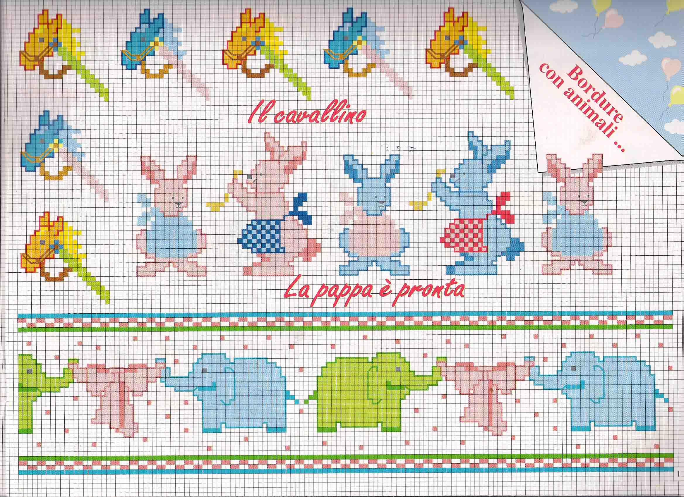 Bordi punto croce bimbi cavalli conigli elefanti for Punto croce bimbi schemi