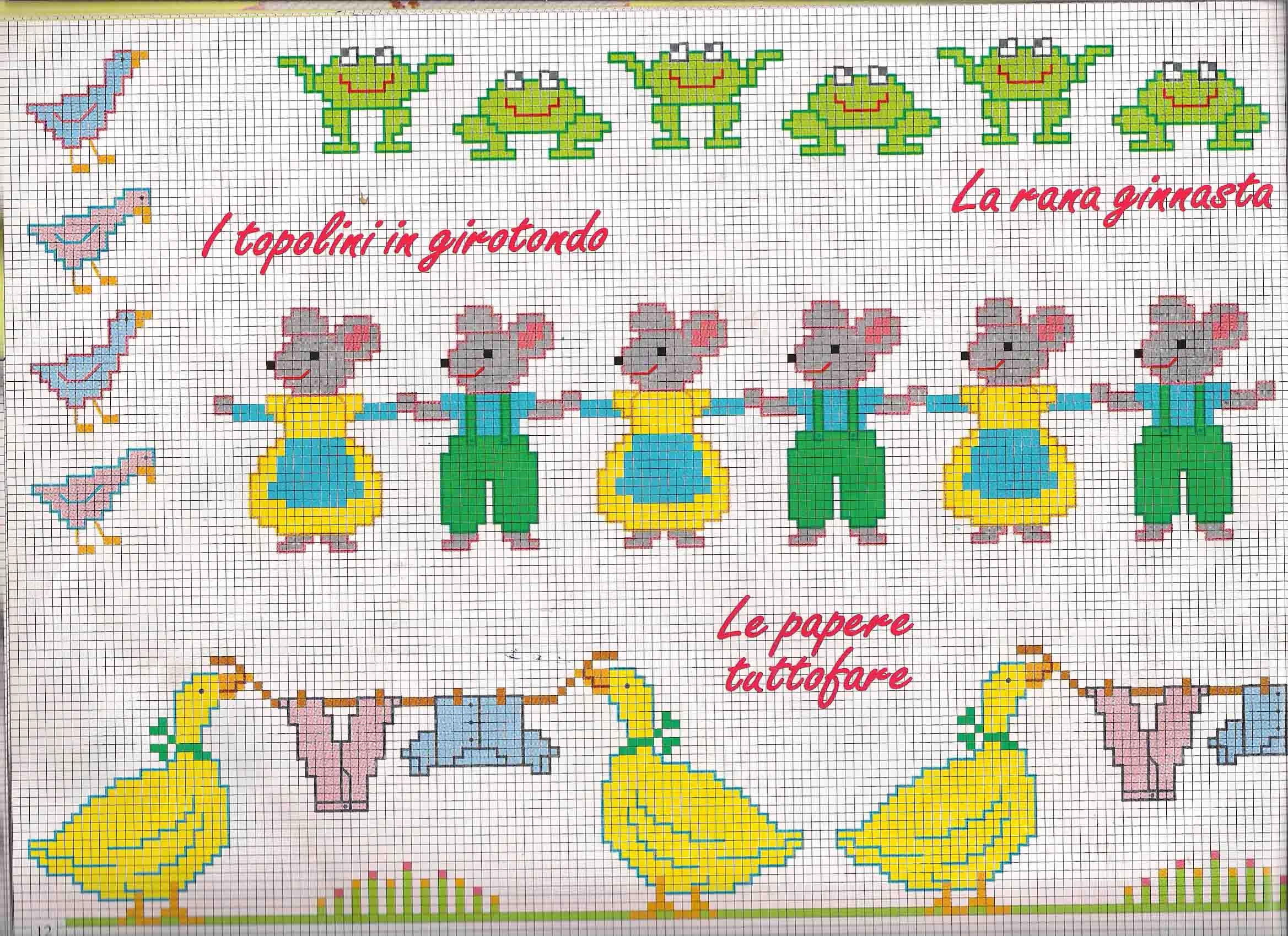 Bordi punto croce bimbi con piccoli animali magiedifilo for Schemi punto croce animali