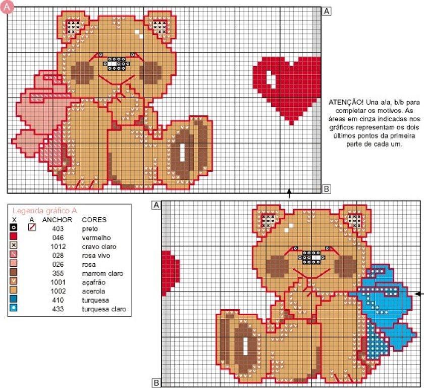 Due teneri orsetti schema da ricamare for Schema punto croce orsetto