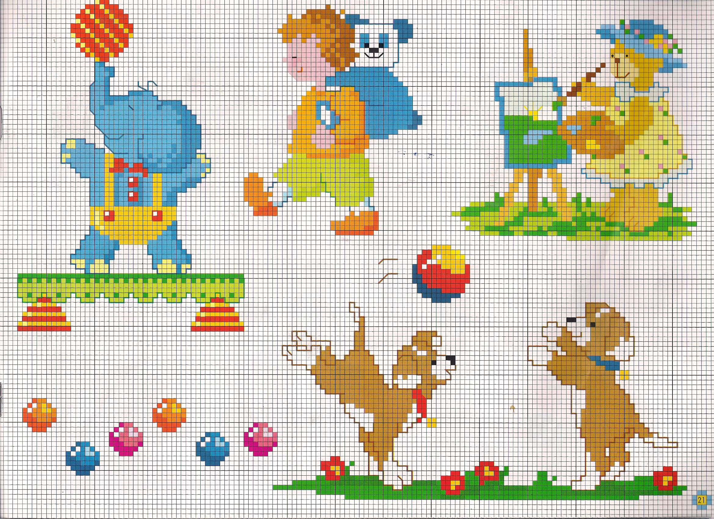 Elefanti e orsetti che giocano animali per bambini punto for Immagini punto a croce