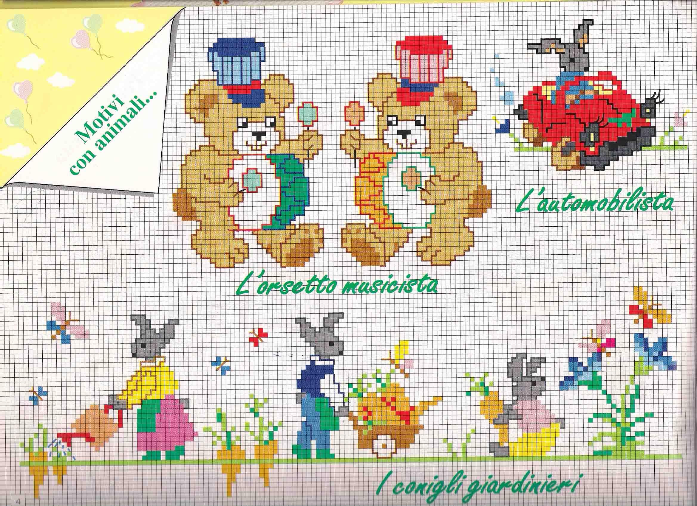 Motivi punto croce bimbo con orsetti e coniglietti for Schemi punto croce animali