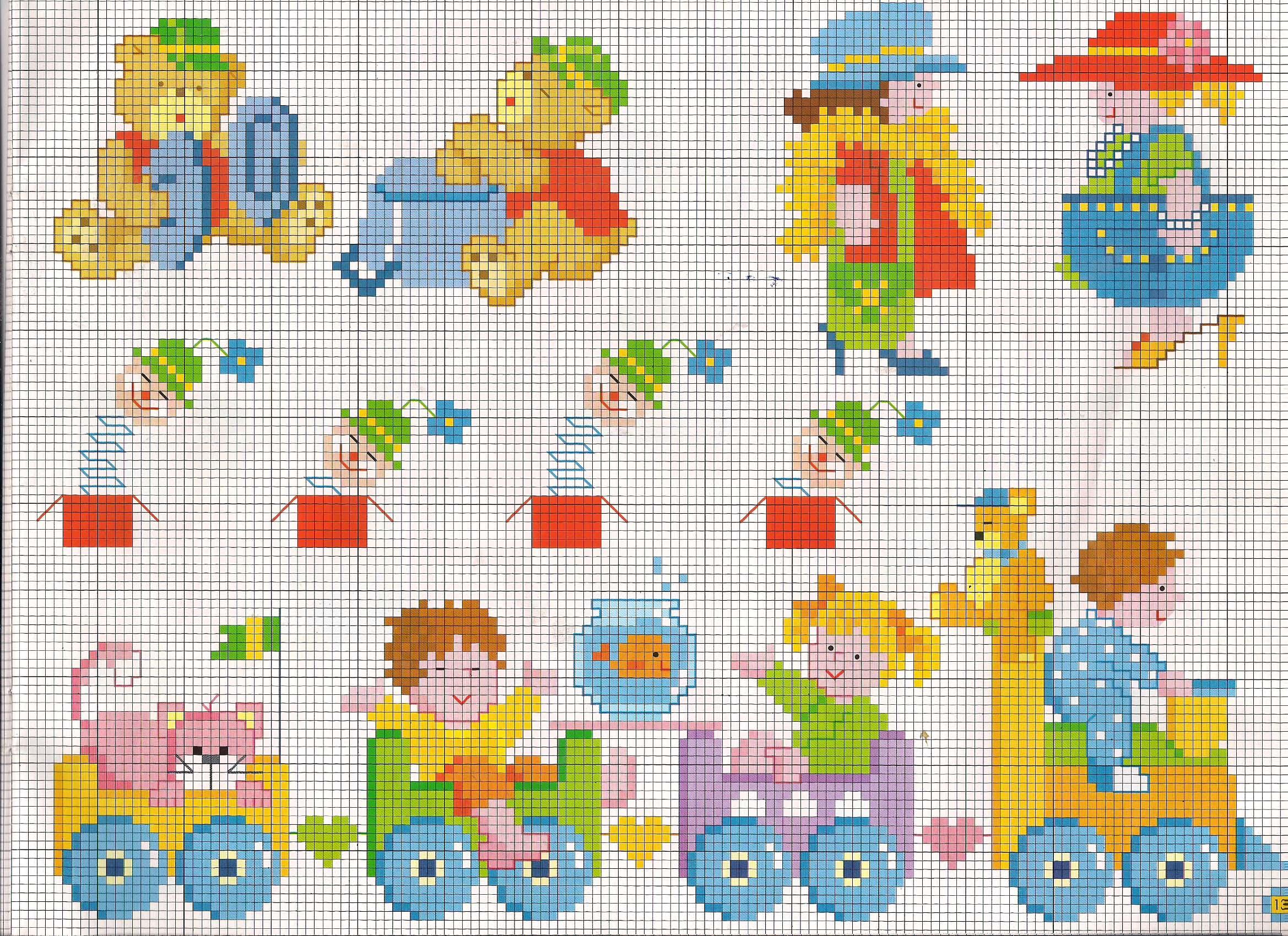 Orsetti e bimbi su trenino giocattolo schemi punto croce for Punto a croce bambini