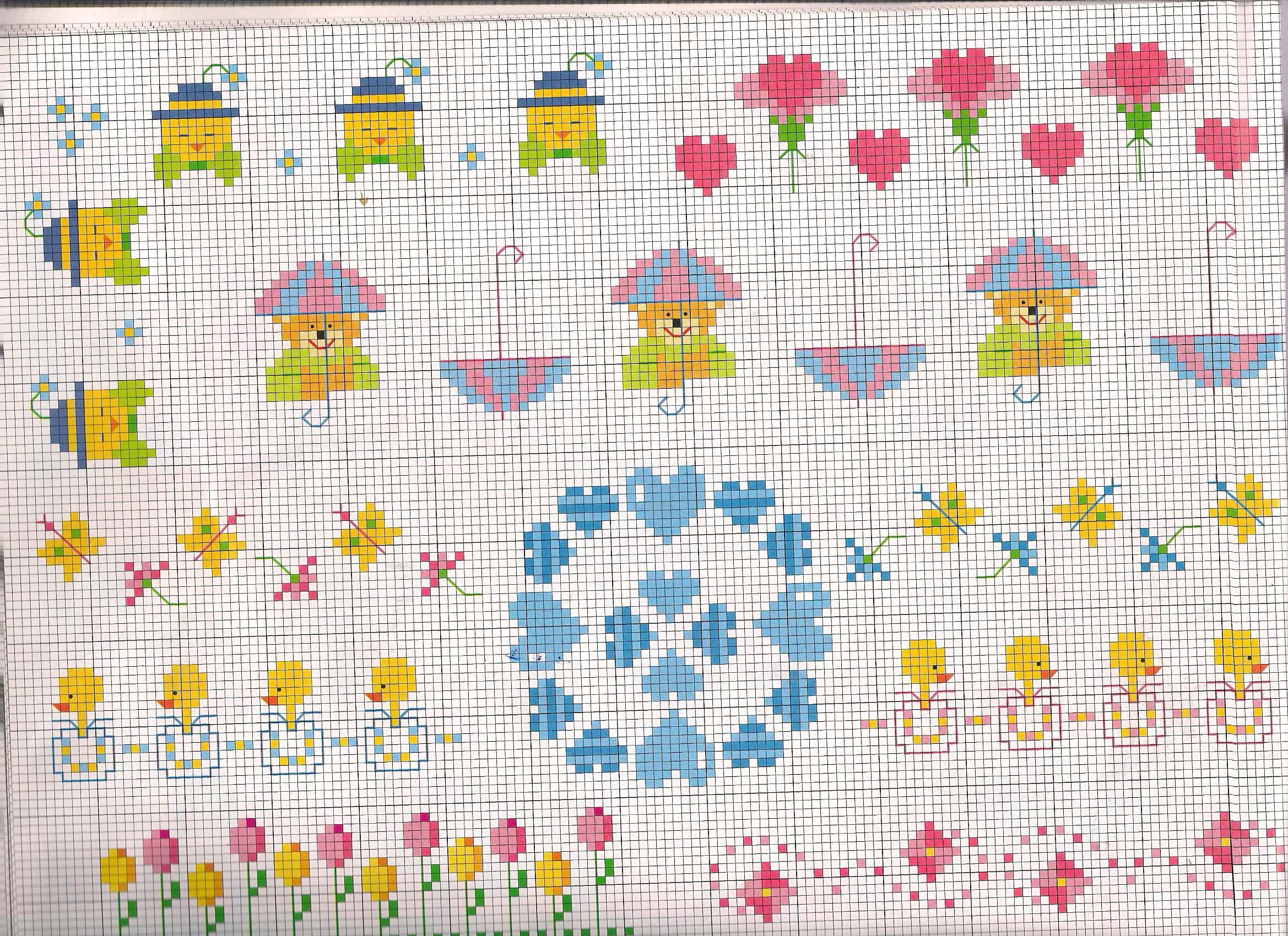 Pulcini tulipani e orsetti piccoli schemi punto croce for Animali a punto croce per bambini