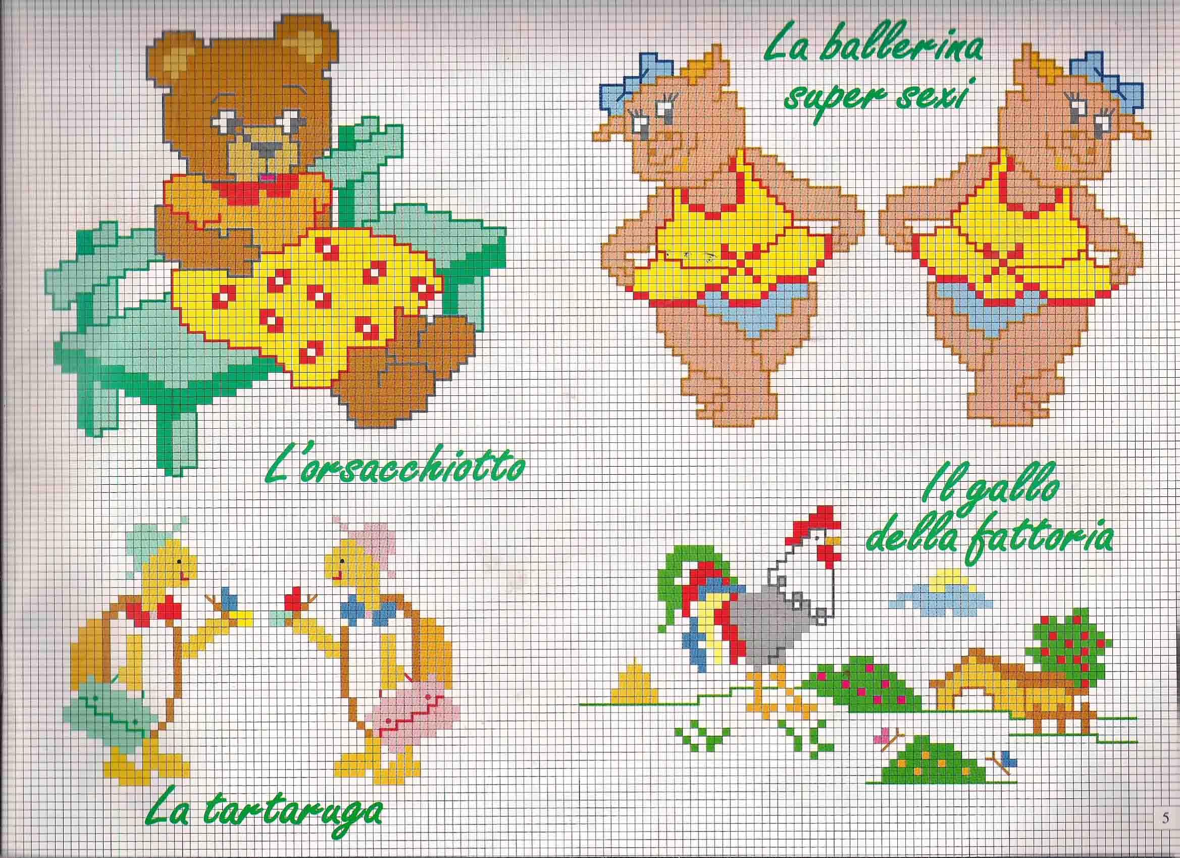 Tartarughe orsetti e maialini a punto croce magiedifilo for Schemi punto croce animali