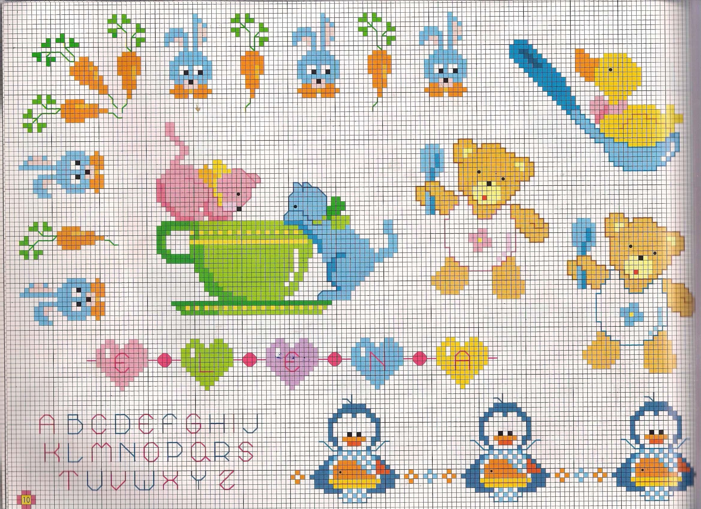 Teneri orsetti punto croce con cucchiaino for Iniziali punto croce bambini