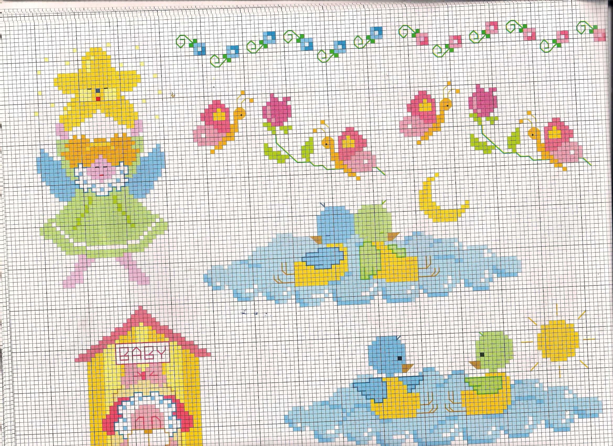 Uccellini che dormono sulle nuvole schemi punto croce for Schemi a punto croce per bambini