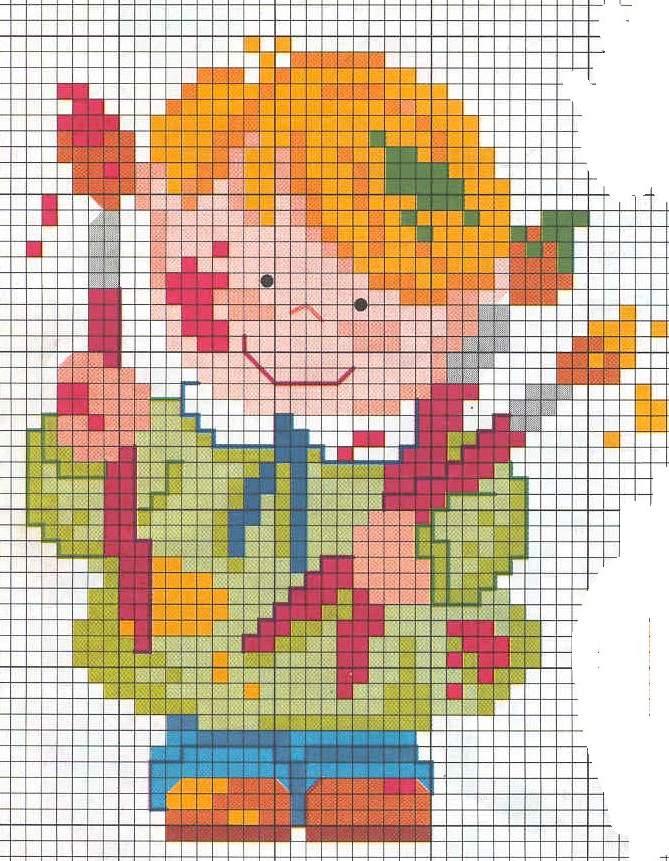 Bambino colori pennelli punto croce for Schemi punto croce bambini gratis