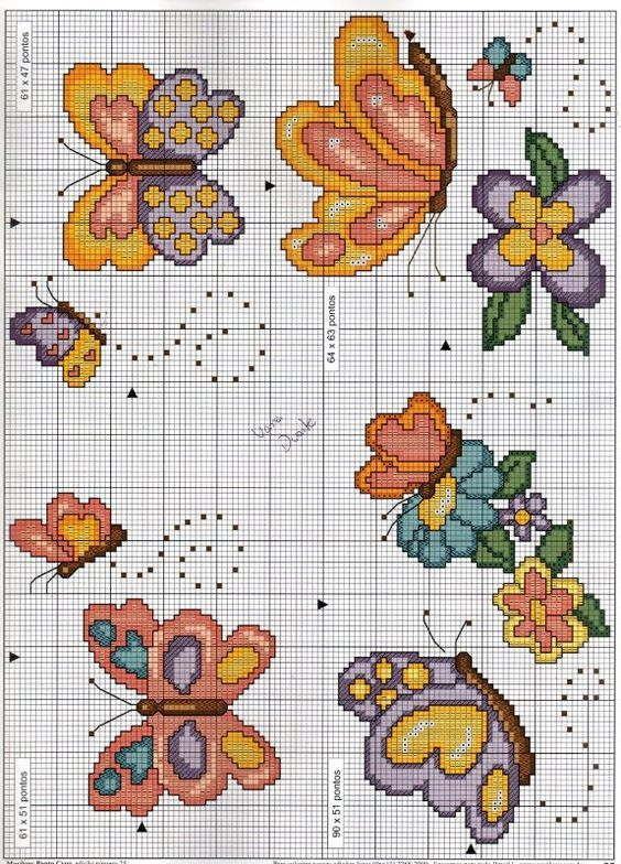 Farfalle schema punto croce bavaglino for Disegni punto croce per bavaglini