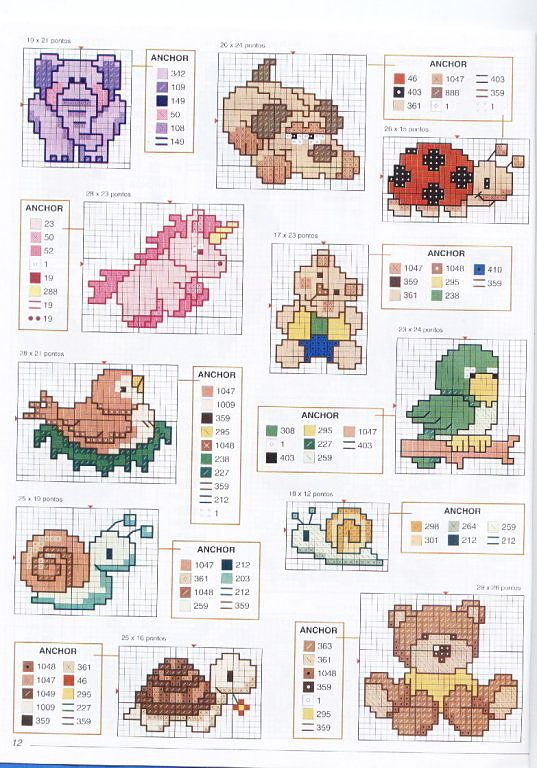 Mini schemi animali bavaglino punto croce for Schemi punto croce animali gratis