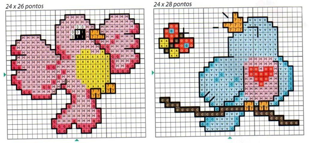 Uccellini schema punto croce bavaglino for Disegni punto croce per bavaglini
