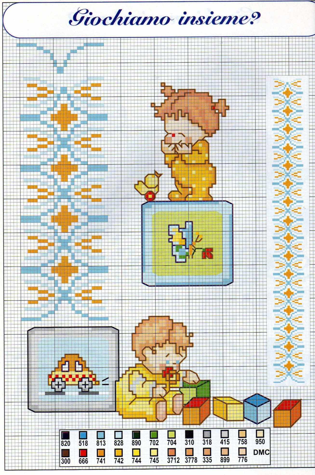 Bimbi che giocano piccoli schemi da ricamare 1 for Schemi punto croce bagnetto bimbi