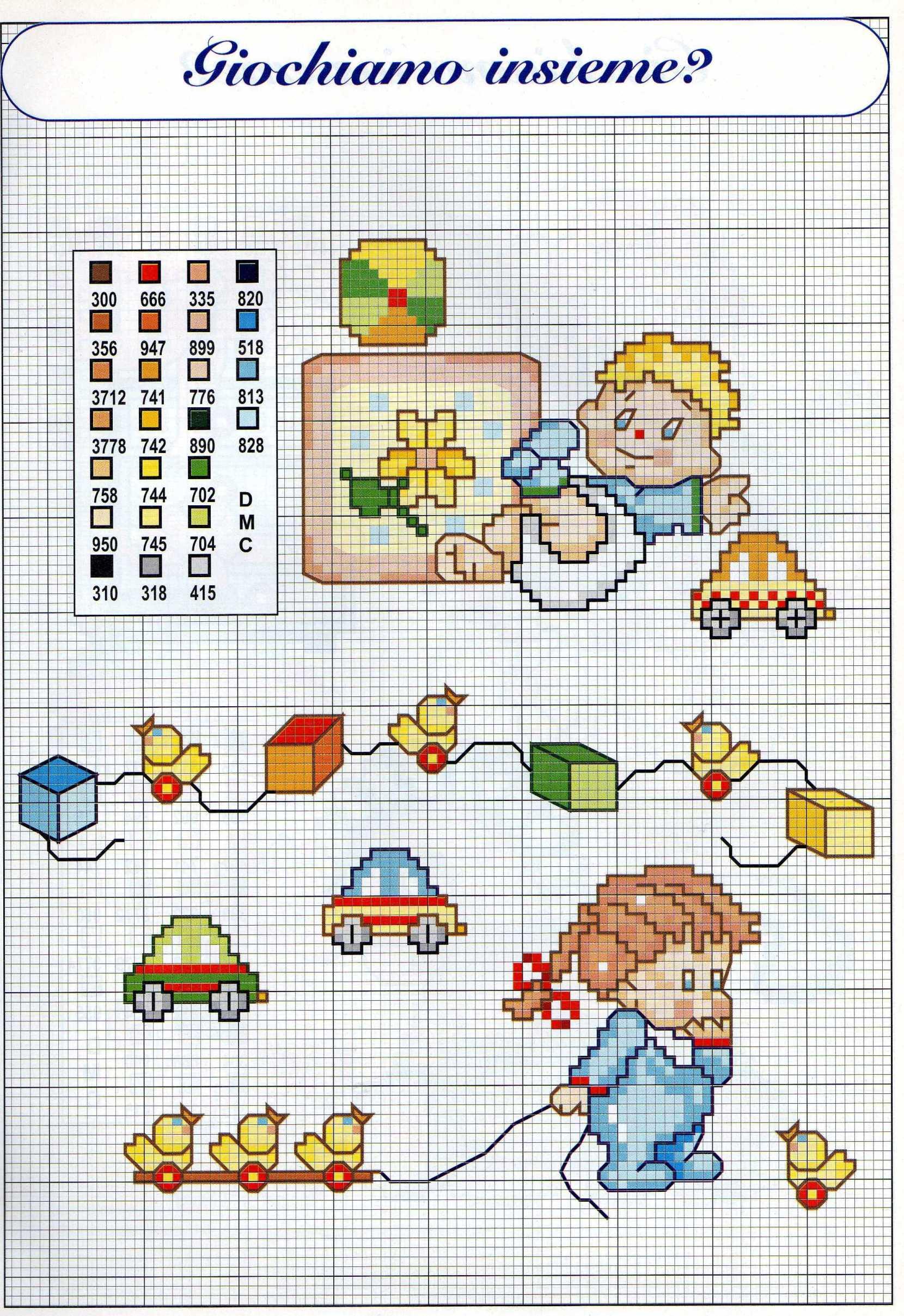 Bimbi che giocano piccoli schemi da ricamare 2 for Punto croce bimbi schemi