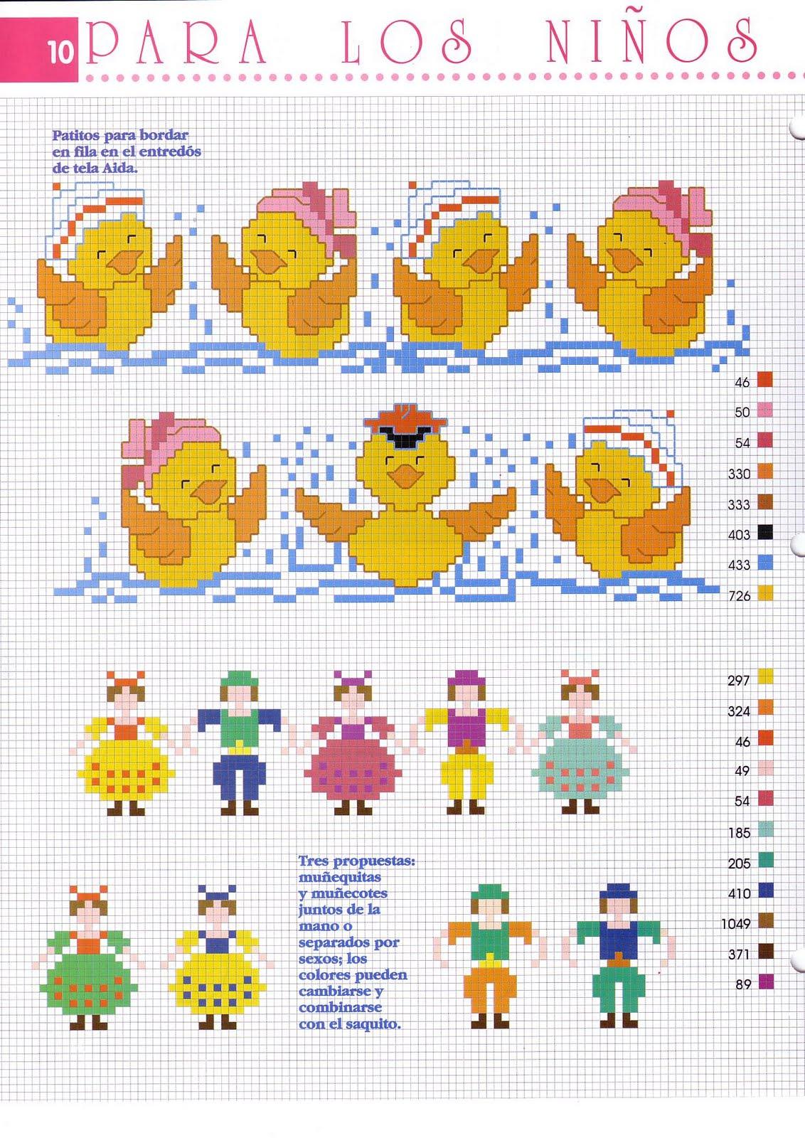Bordo punto croce bimbo con paperelle 2 for Punto a croce bambini