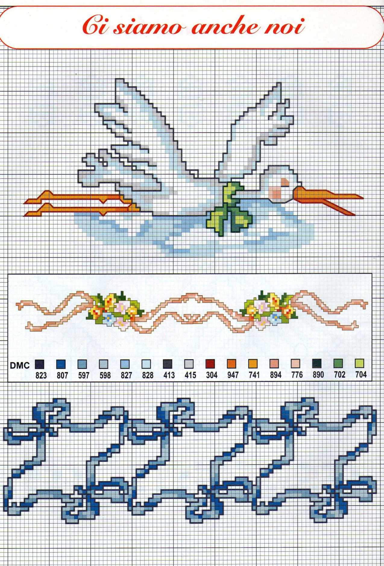 Cicogne e bordi schemi punto croce nascita 1 for Schemi punto croce bagnetto bimbi