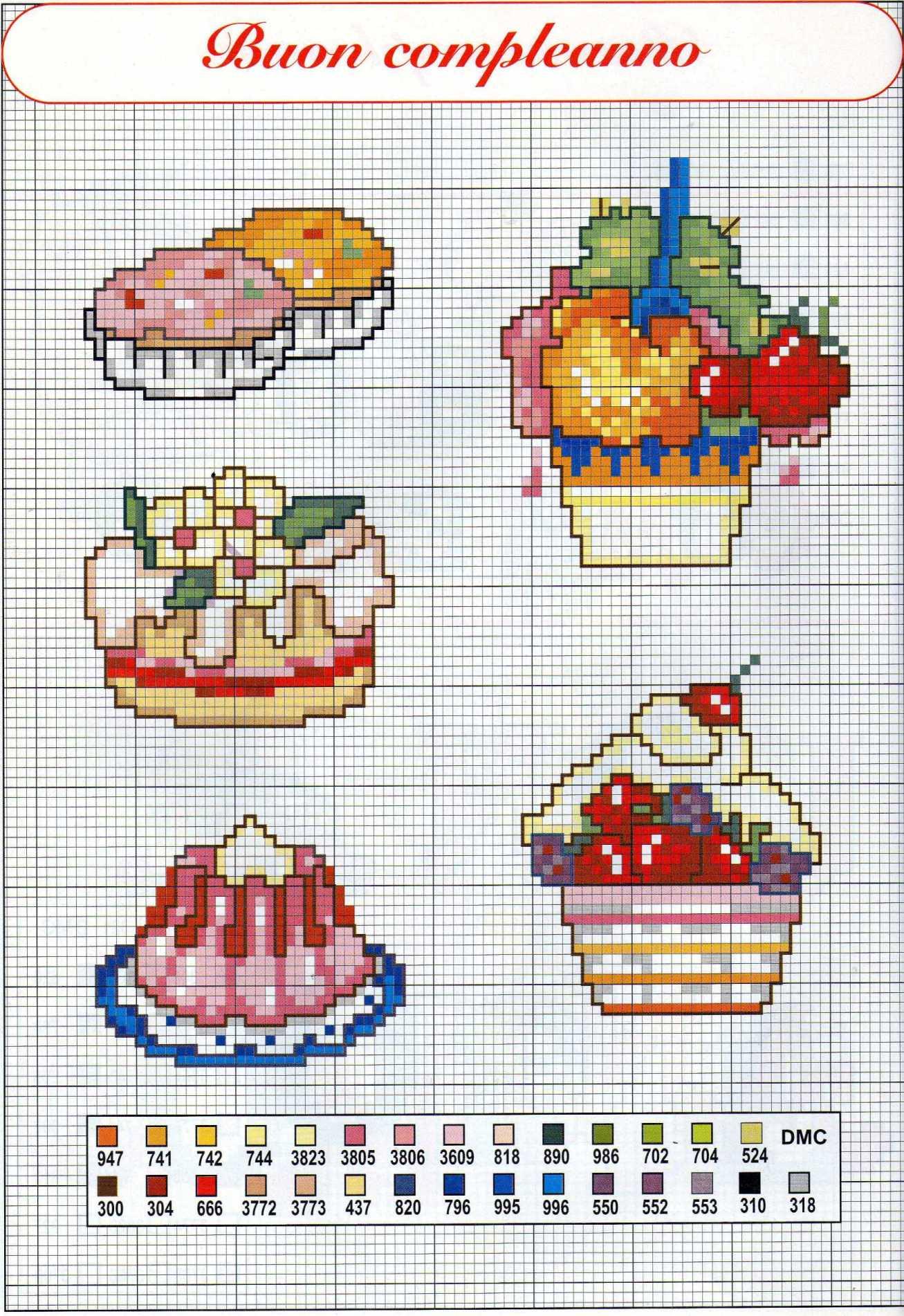 Dolci e gelati piccoli schemi punto croce compleanno for Punto croce schemi facili