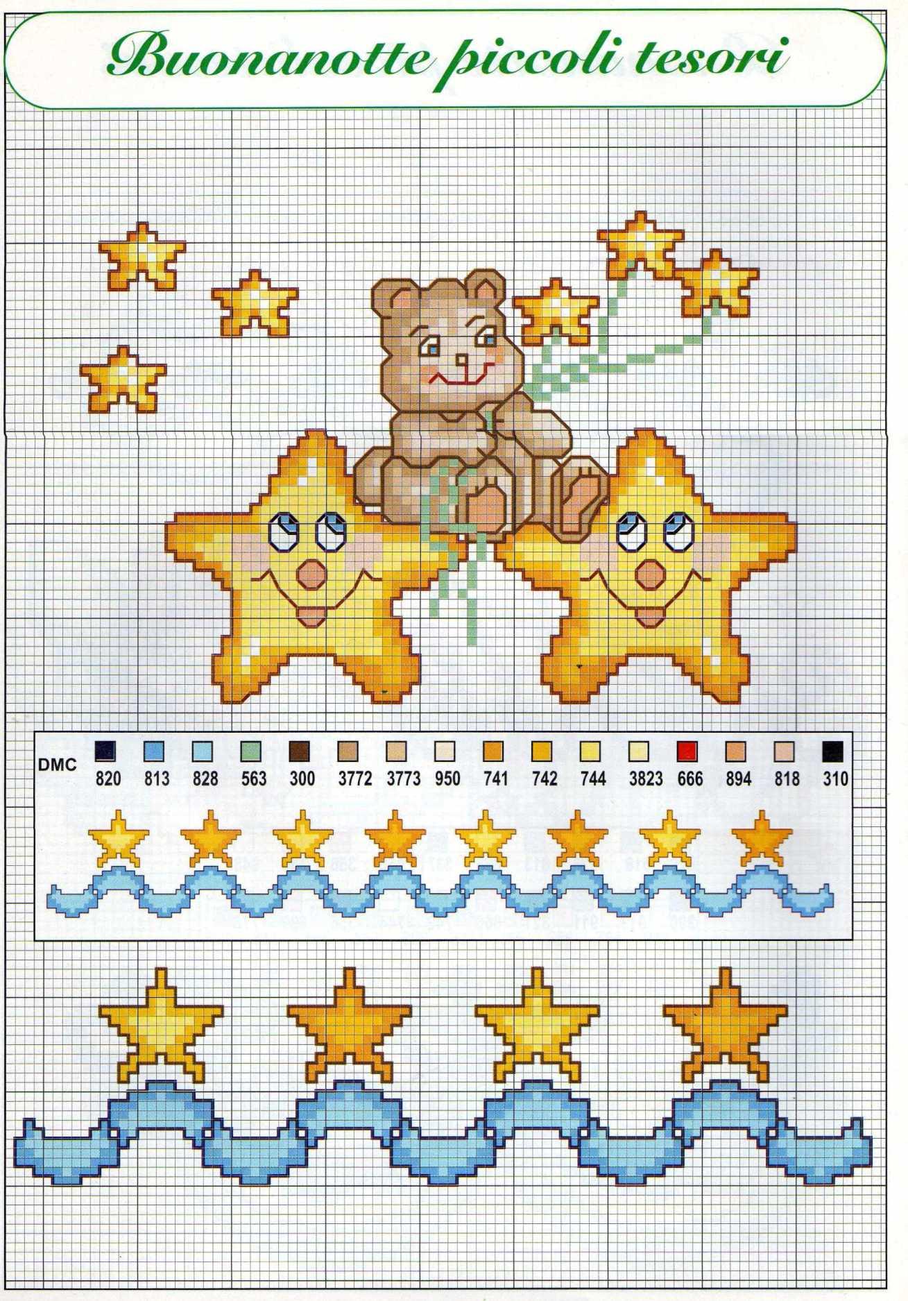 Luna e stelle schemi punto croce per bambini nascita 1 for Schemi a punto croce per bambini