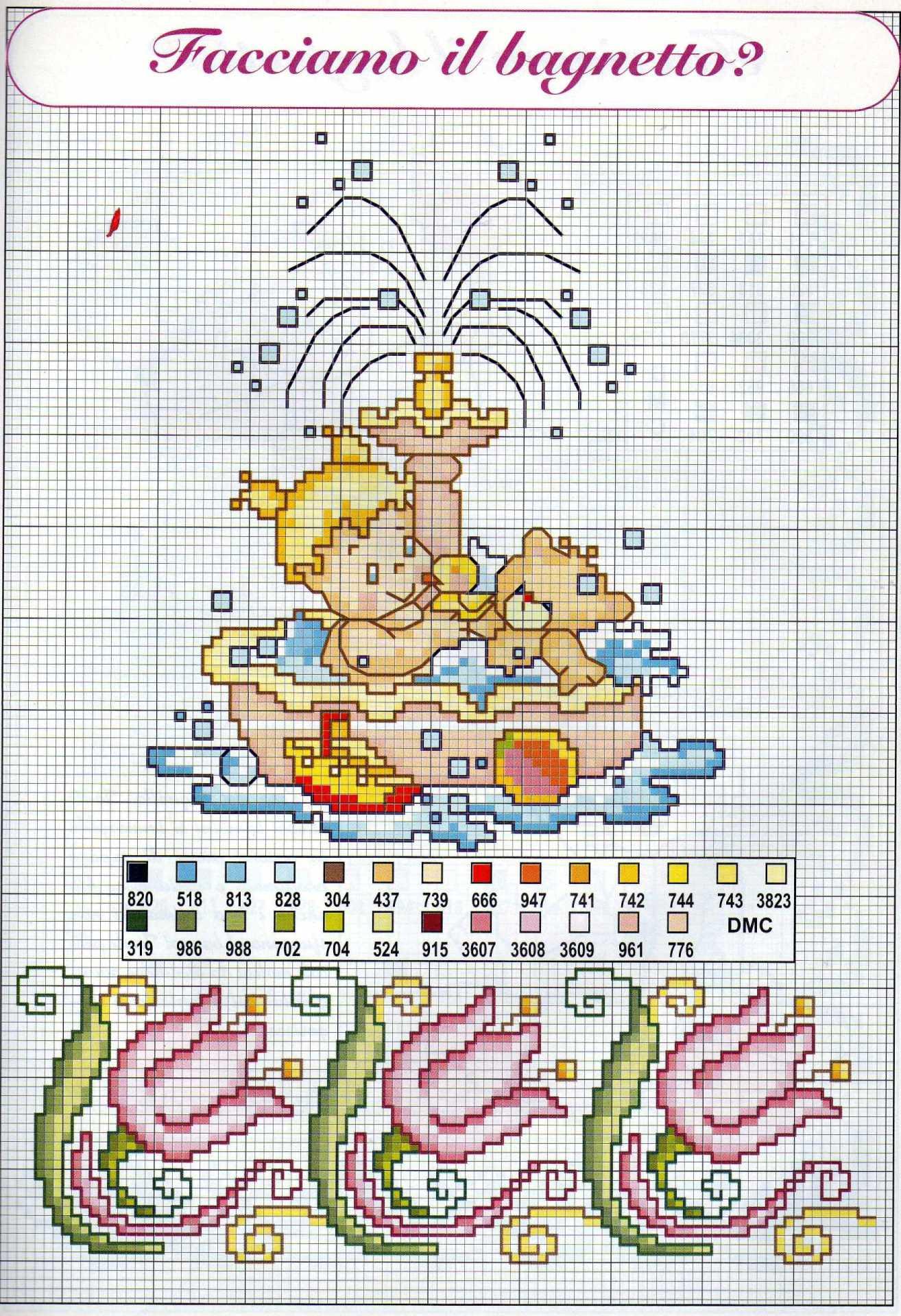Schemi punto croce nascita bambini il bagnetto 2 for Punto a croce bambini
