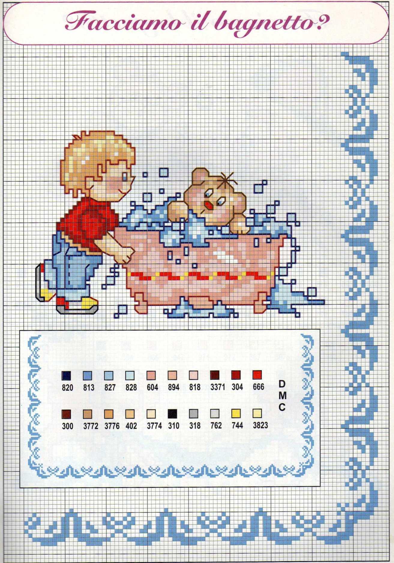 Schemi punto croce nascita bambini il bagnetto 4 for Punto croce bagnetto