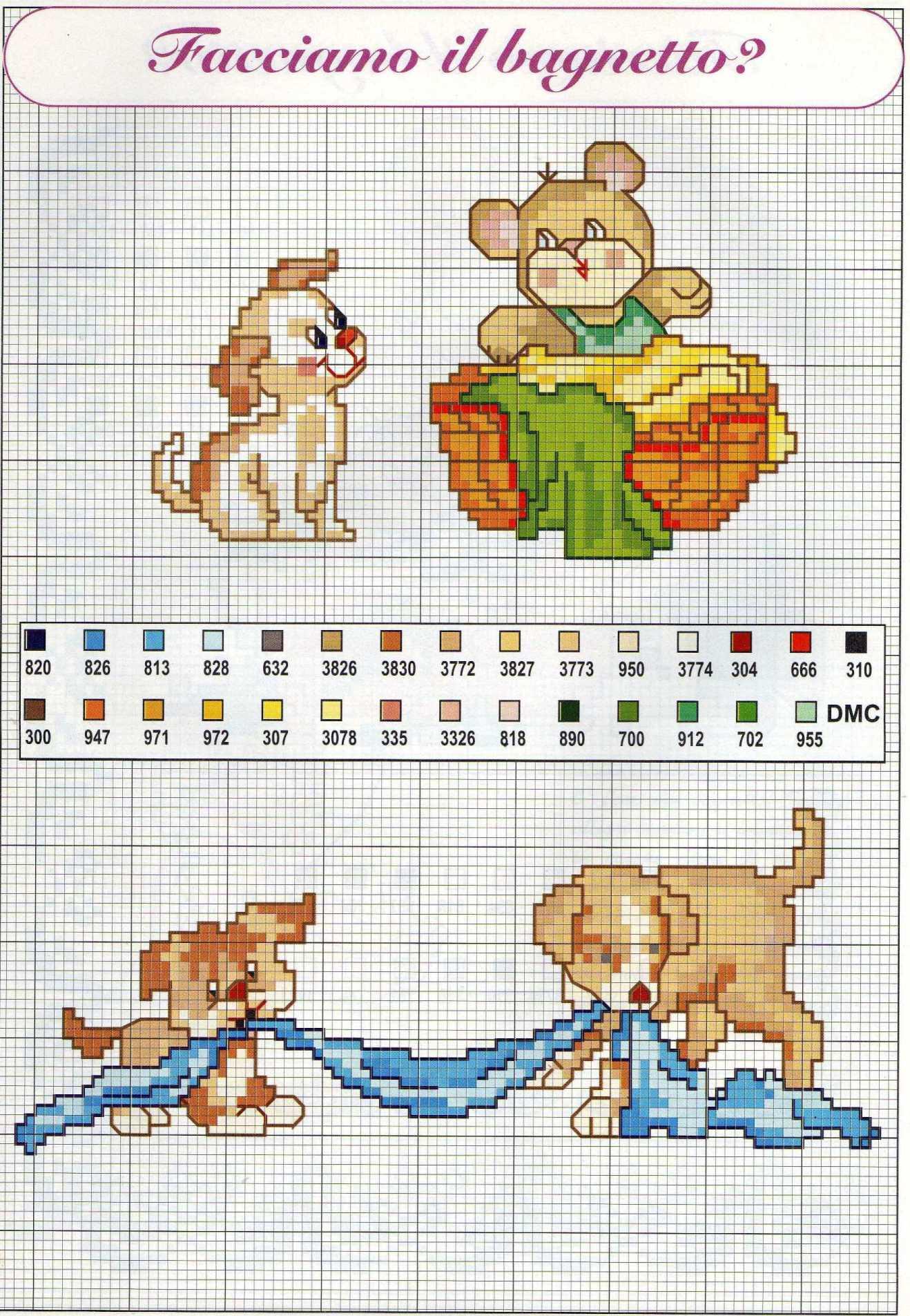 Schemi punto croce bimbi gratis orsetti stelline 1 for Idee punto croce neonati