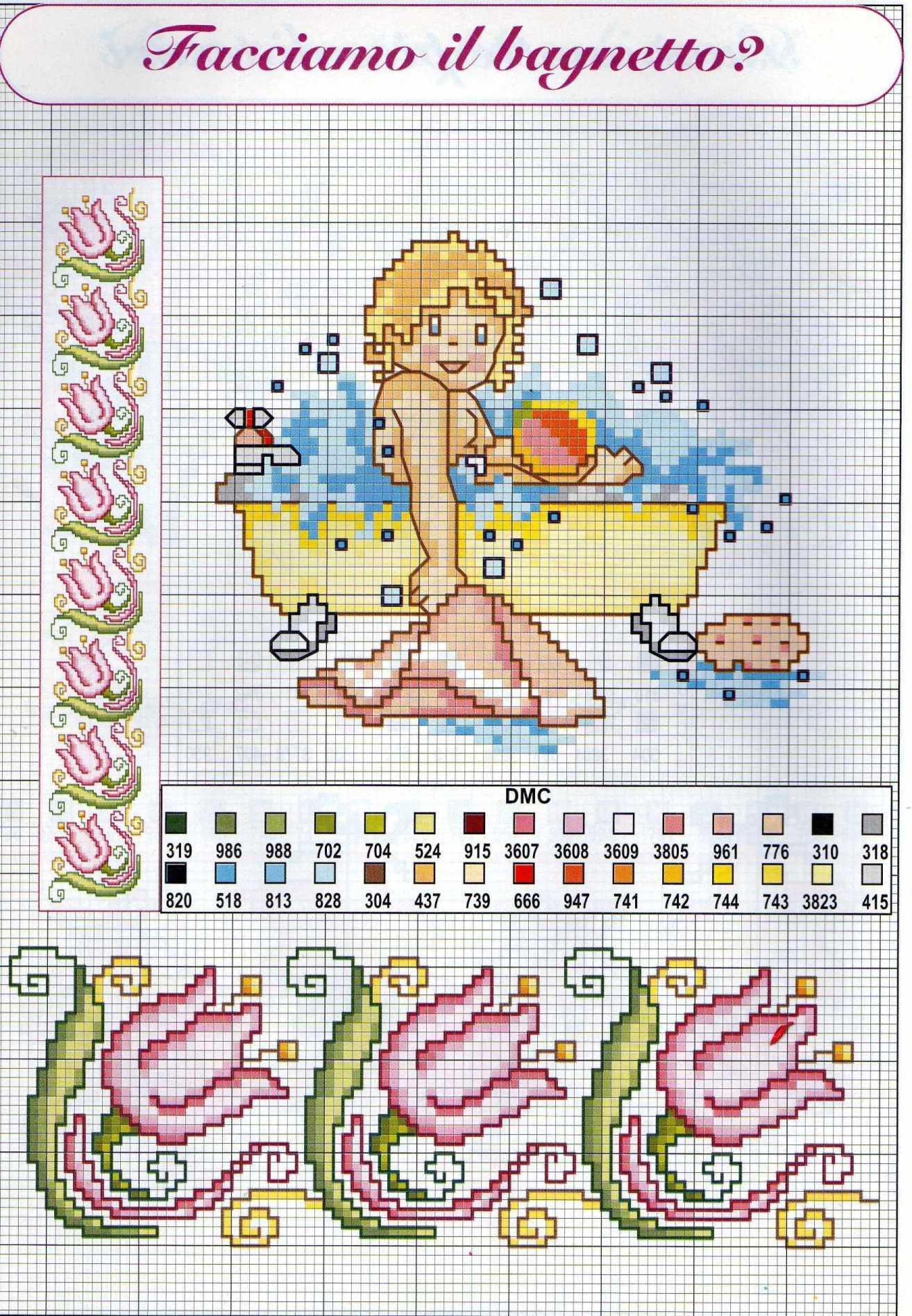 Schemi punto croce nascita bambini il bagnetto 1 for Punto a croce bambini