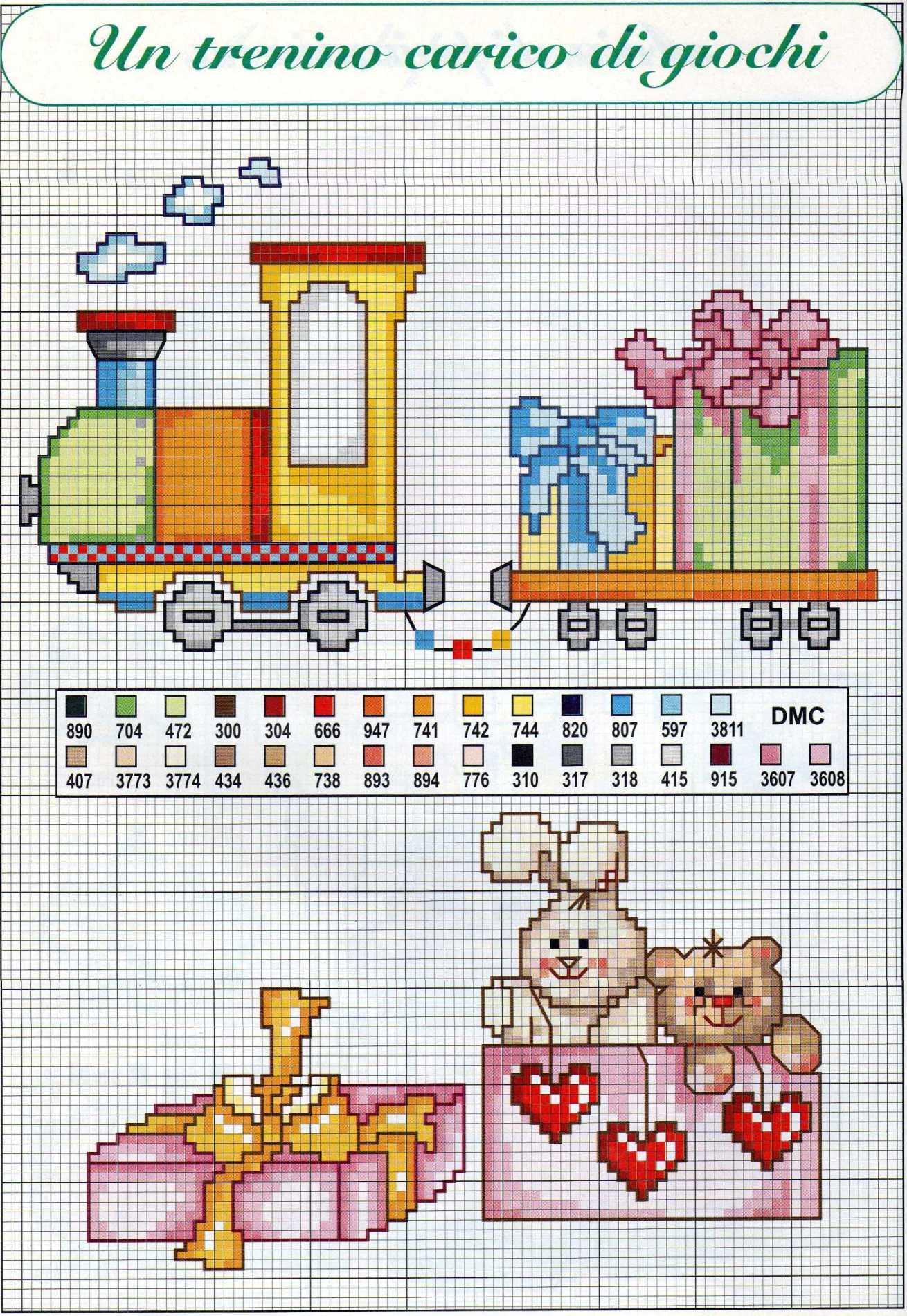 Un trenino carico di giochi schema da ricamare punto croce per bambini (1) - magiedifilo.it ...