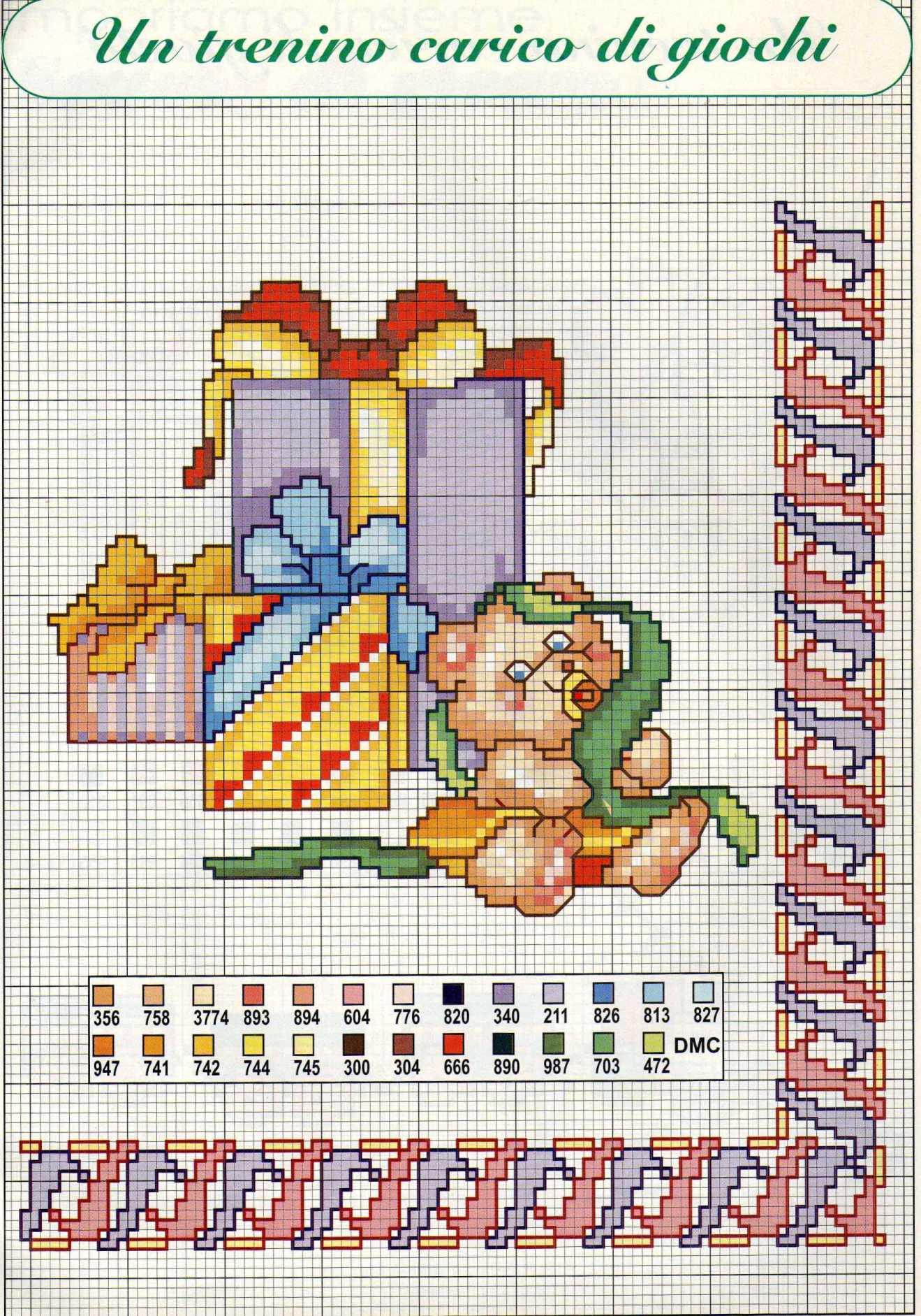 Un trenino carico di giochi schema da ricamare punto croce for Ricami punto croce per neonati