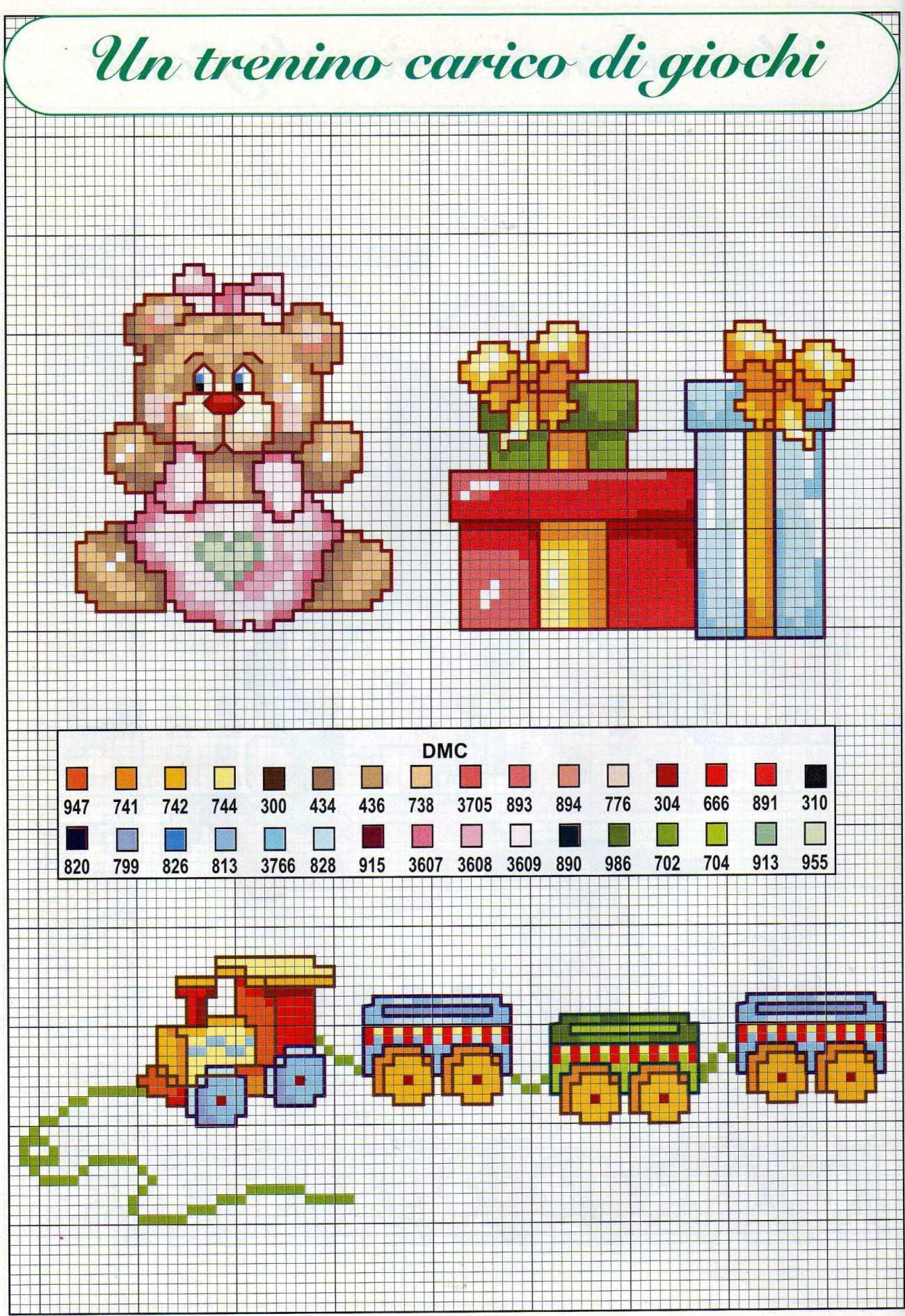 Un trenino carico di giochi schema da ricamare punto croce per bambini (3) - magiedifilo.it ...