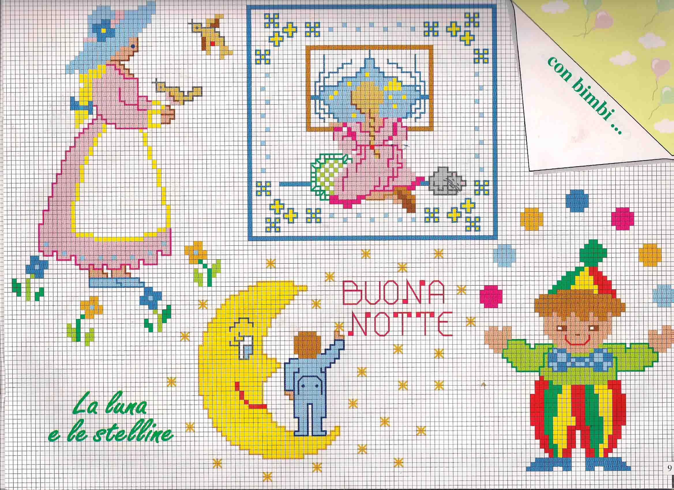 La luna e le stelline schemi punto croce bimbi for Punto croce schemi bambini