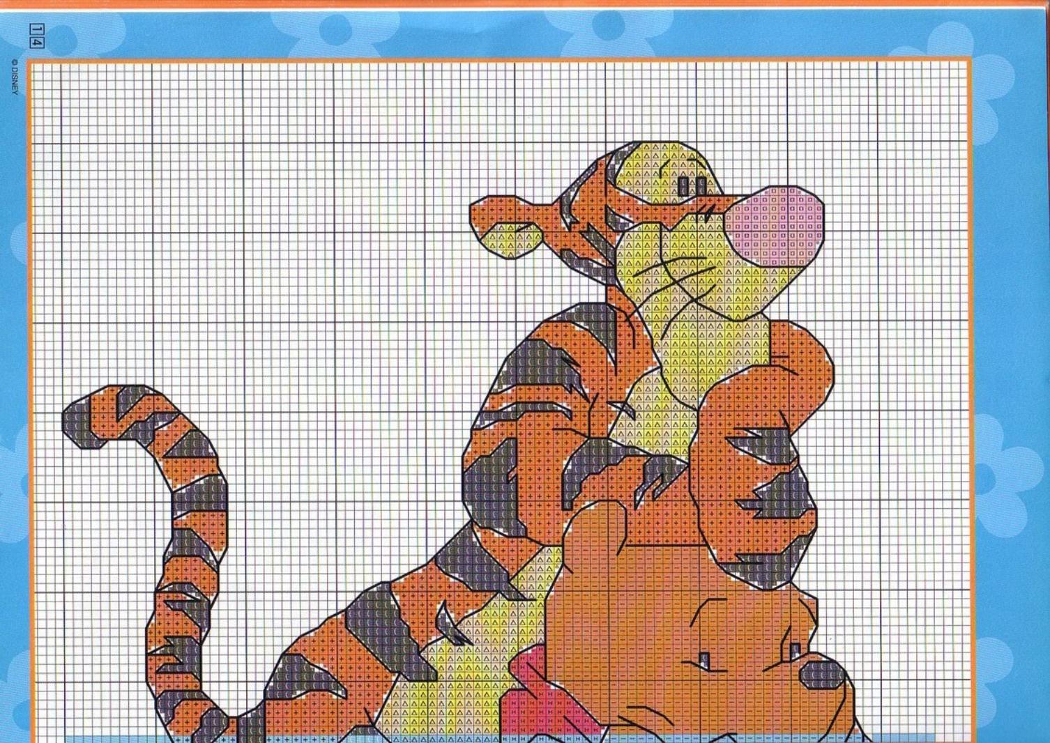 Adesivo schema punto croce con tigro e winnie the pooh 1 for Winnie the pooh punto croce