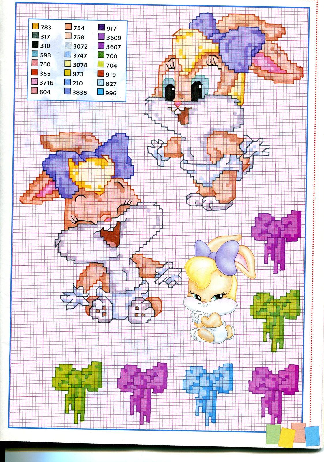 Baby lola bunny schema punto croce punto for Schemi punto croce bambini disney