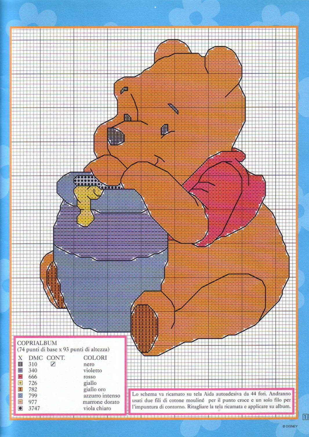 Coprialbum schema punto croce con winnie the pooh e for Winnie the pooh punto croce
