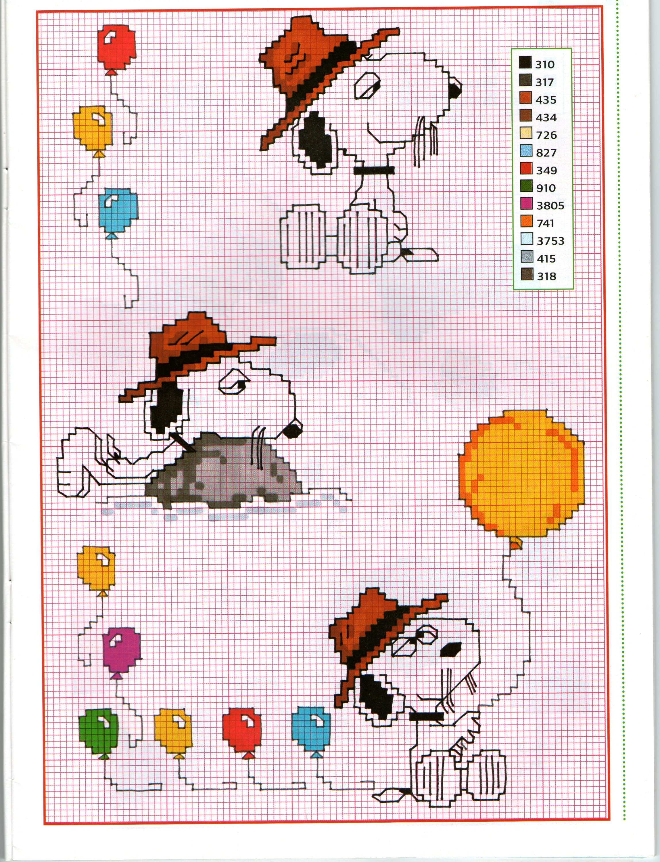 Palloncini colorati e Snoopy schemi punto croce gratis - magiedifilo.it punto...