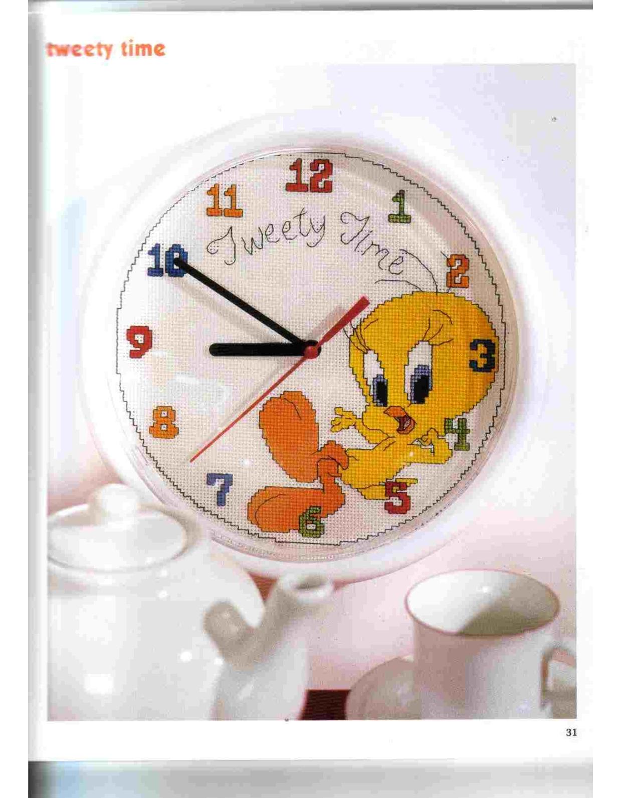 Orologio punto croce con titti della looney tunes 1 for Orologio punto croce schemi gratis