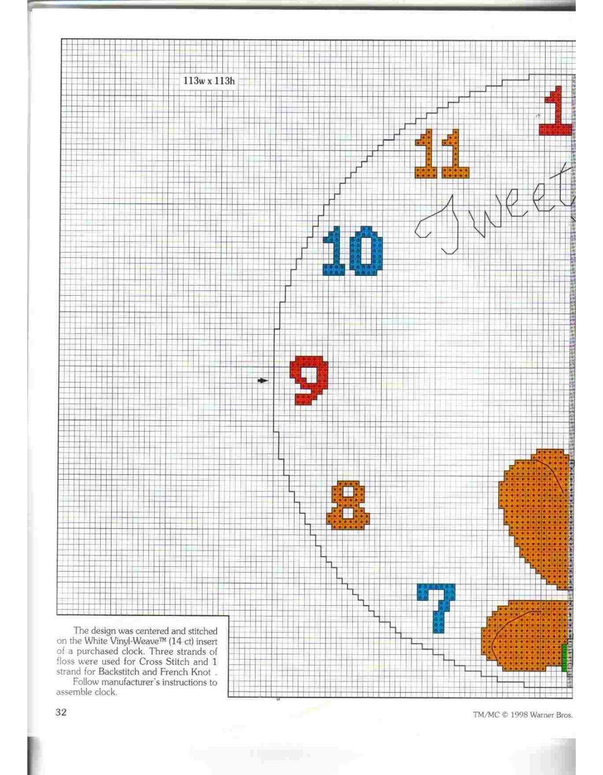 Orologio punto croce con titti della looney tunes 2 for Orologio punto croce schemi gratis