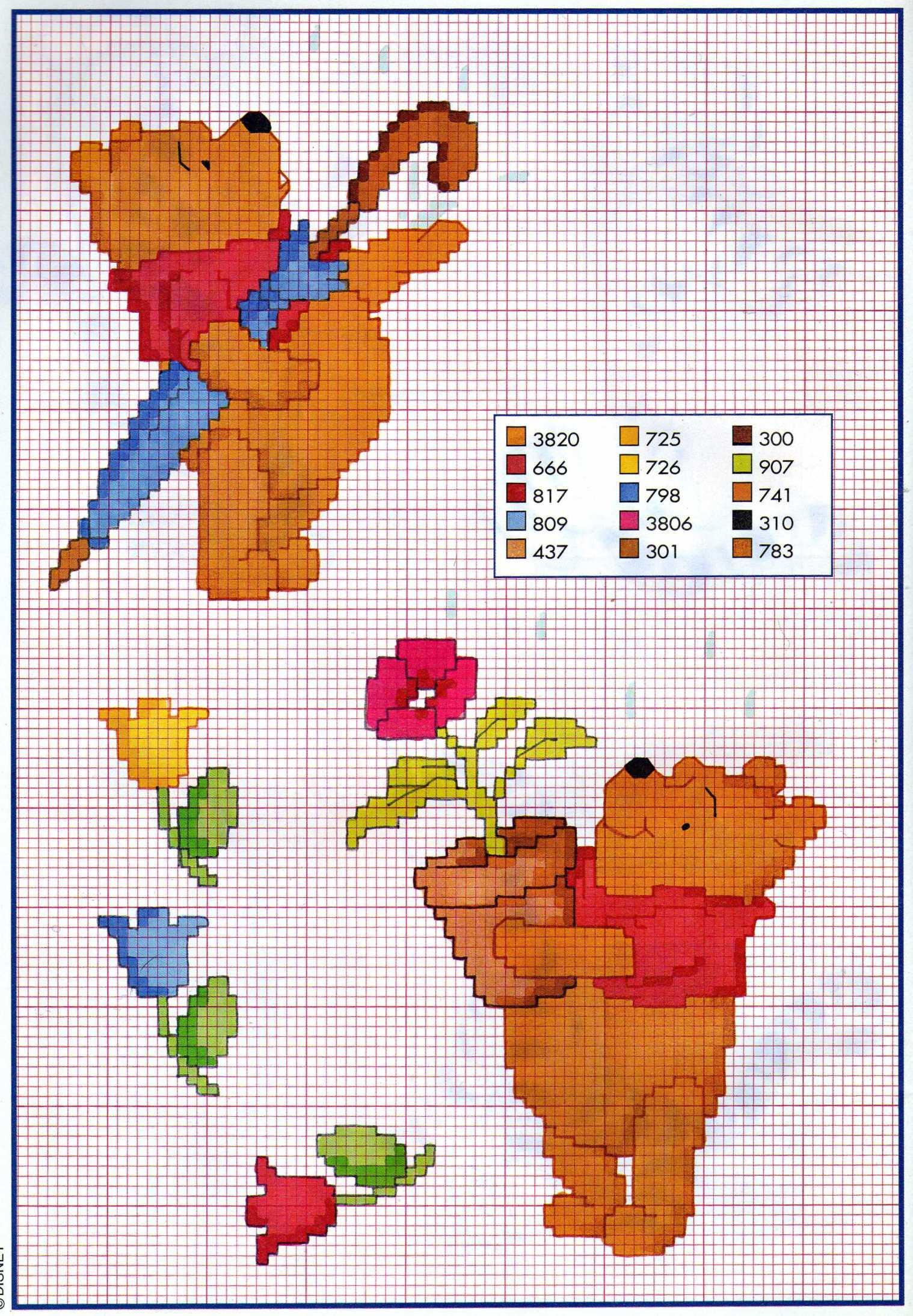 Pooh ombrello vaso fiori punto croce for Punto croce disney winnie the pooh